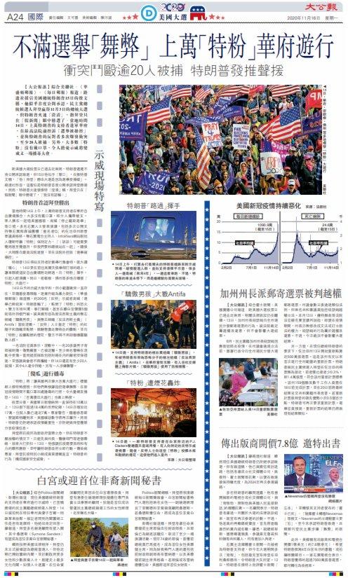 不滿選舉「舞弊」 上萬「特粉」華府遊行