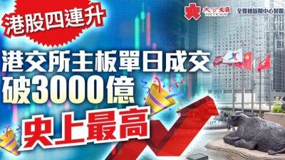 港交所主板單日成交破3000億 港股四連升創史上最高