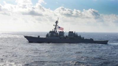 又挑釁!美軍一導彈驅逐艦航行通過台灣海峽