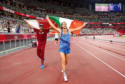 奧運田徑百年首次 跳高兩男並列冠軍