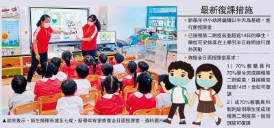 復課措施/學校接種率七成 可恢復全日面授\大公報記者解雪薇、葉心弦